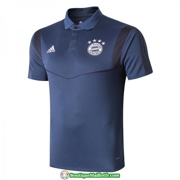 Polo Kit Bayern Munich Entrainement 2019 2020 Bleu Fonce