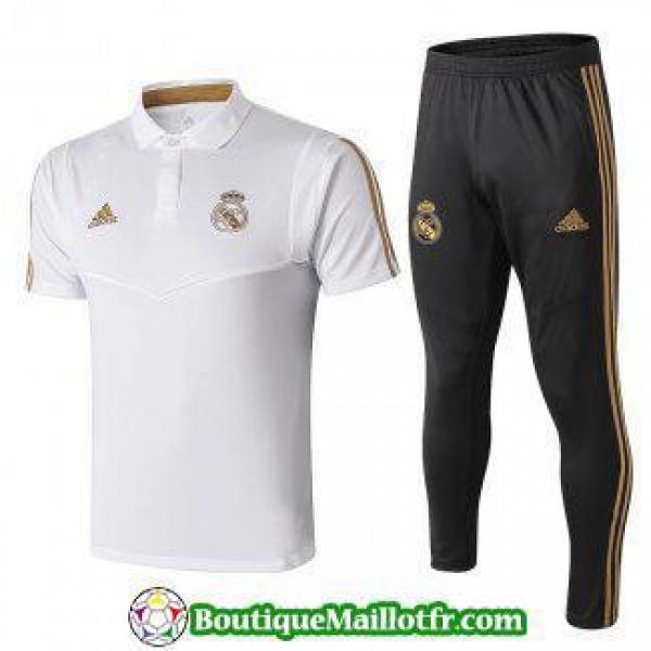 Polo Kit Real Madrid Entrainement 2019 2020 Blanc
