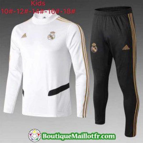 Chandal Real Madrid Enfant 2019 2020 Col Haut Blan...