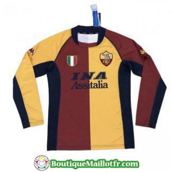 Maillot As Roma Retro Manche Longue 2001 2002 Exte...