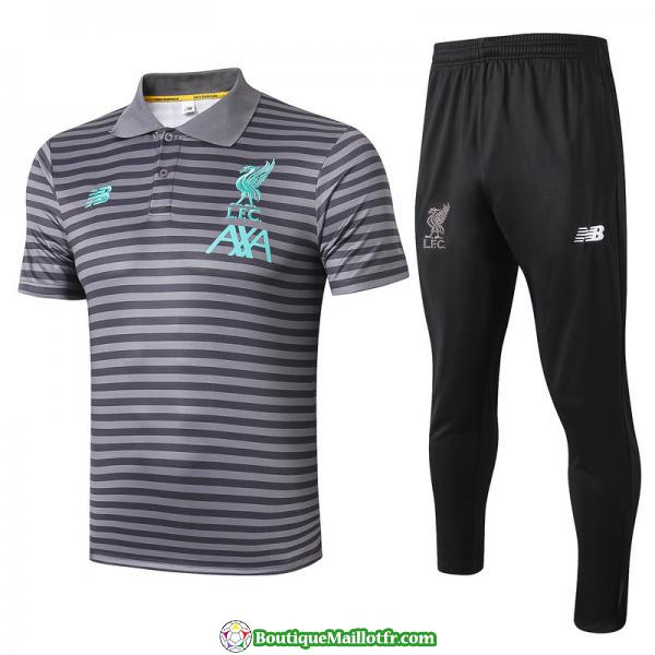 Polo Kit Liverpool Entrainement 2019 2020 Rayure Gris