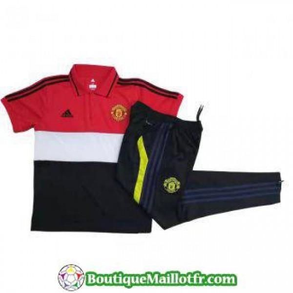 Polo Kit Manchester United Entrainement 2019 2020 Noir Blanc Rouge