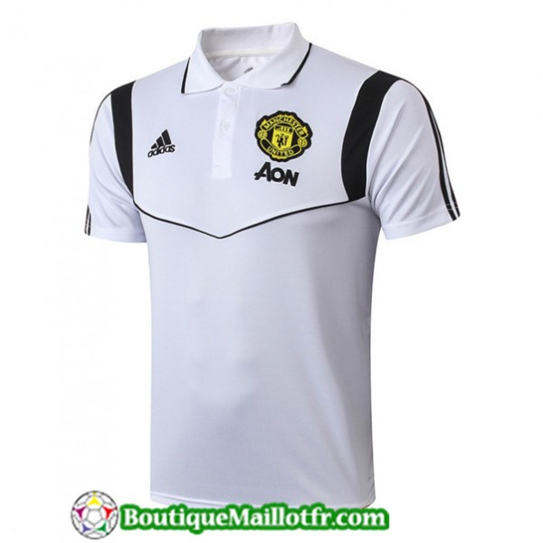 Maillot Entrenamiento Manchester United Polo Blanc