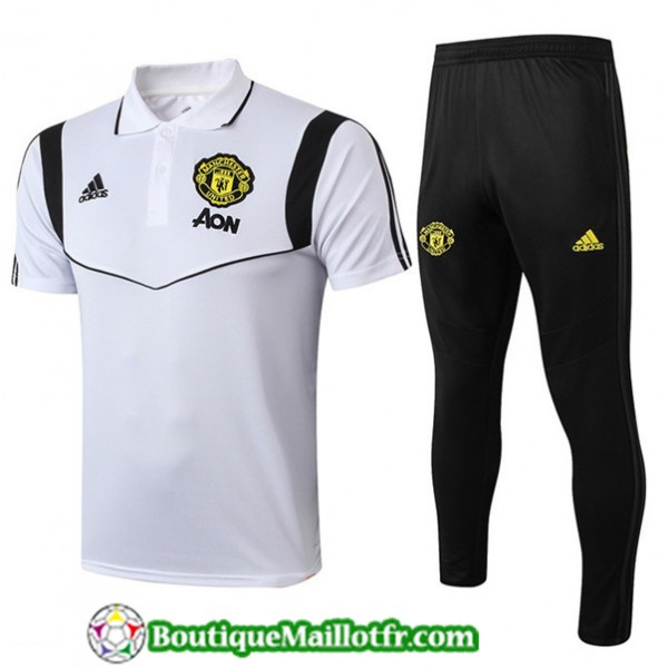 Maillot Entrenamiento Manchester United Polo Blanc...