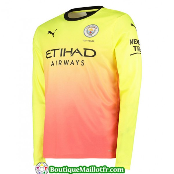 Maillot Manchester City 2019 2020 Third Jaune Rose...