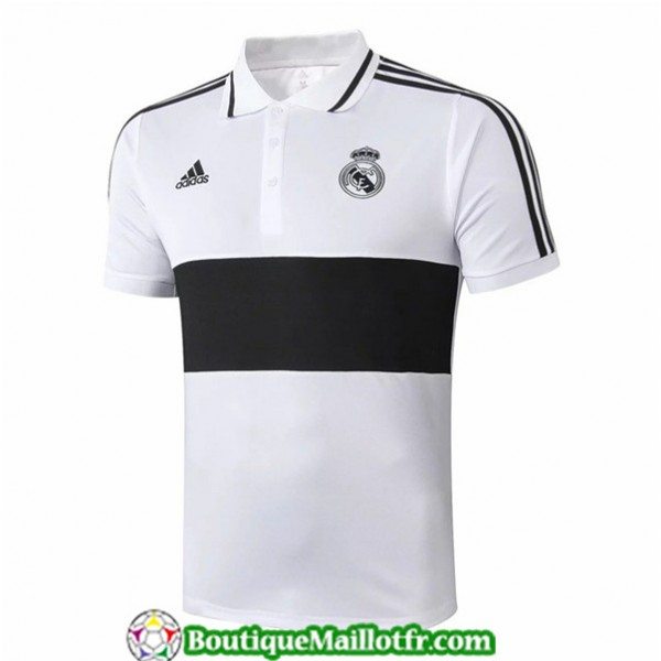 Maillot Real Madrid 2019 2020 Polo Blanc/noir