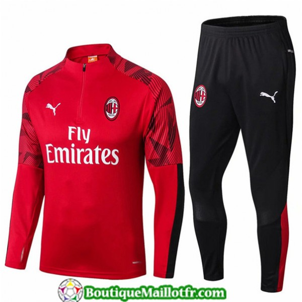 Survetement Ac Milan 2019 2020 Ensemble Rouge Swea...