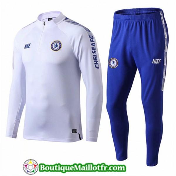 Survetement Chelsea 2019 2020 Ensemble Blanc Bleu