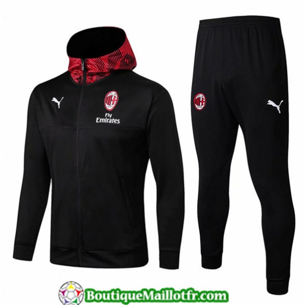 Veste Survetement Ac Milan 2019 2020 Ensemble Noir...
