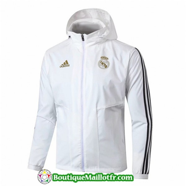 Veste De Foot Real Madrid 2019 2020 Coupe Vent Bla...