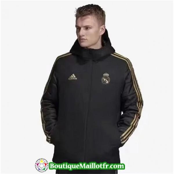 Veste De Foot Real Madrid Doudoune Noir à Capuche