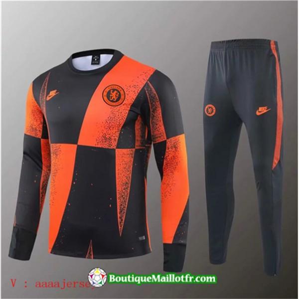 Survetement Chelsea 2019 2020 Ensemble Noir Orange...