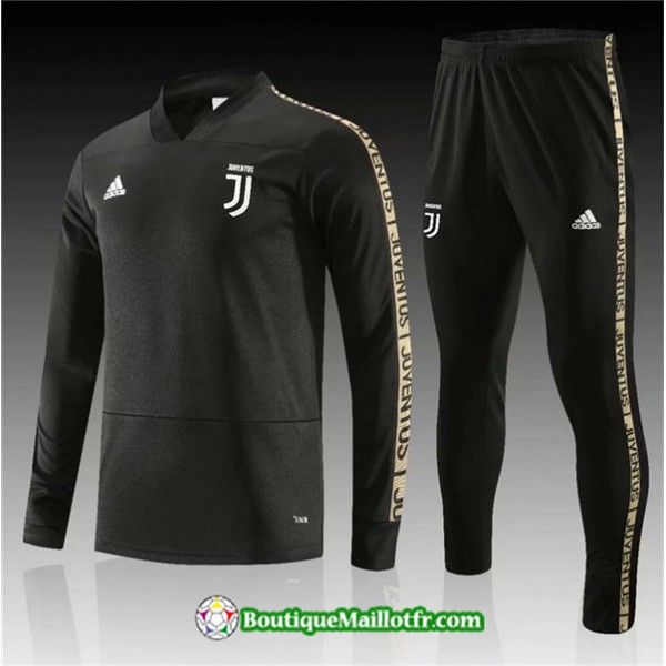 Survetement Juventus 2019 2020 Ensemble Noir Col V