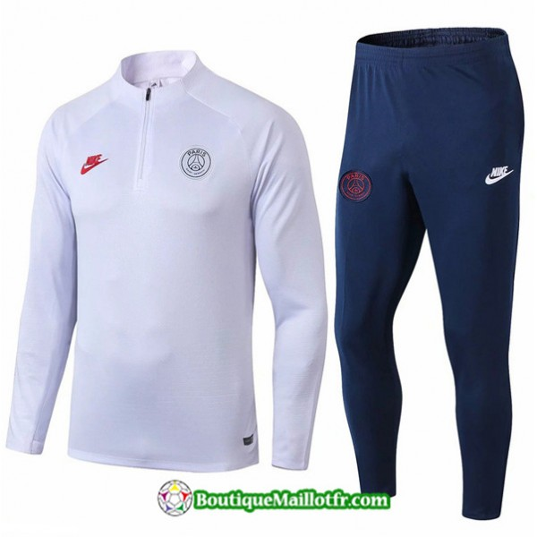 Survetement Psg 2019 2020 Ensemble Blanc/bleu Mari...