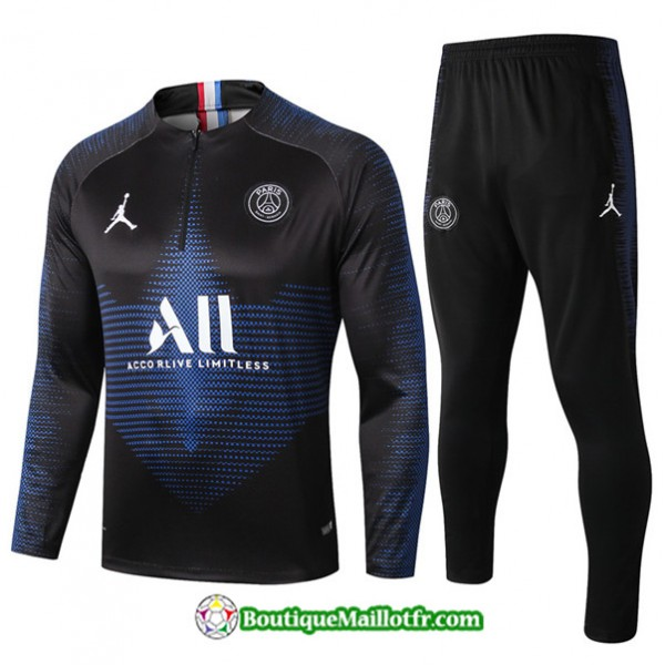 Survetement Psg 2019 2020 Ensemble Noir Sweat Zipp...