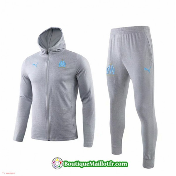 Sweat à Capuche Marseille 2019 2020 Ensemble Gris