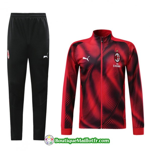 Veste Survetement Ac Milan 2019 2020 Ensemble Roug...