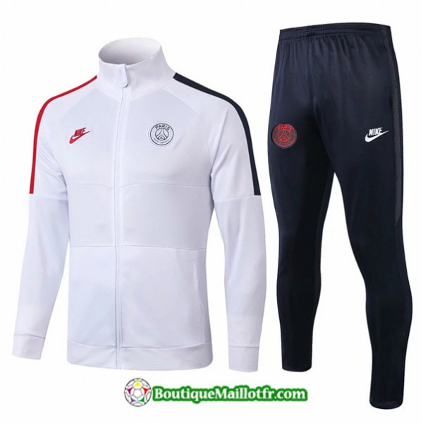 Veste Survetement Psg 2019 2020 Ensemble Blanc/noi...