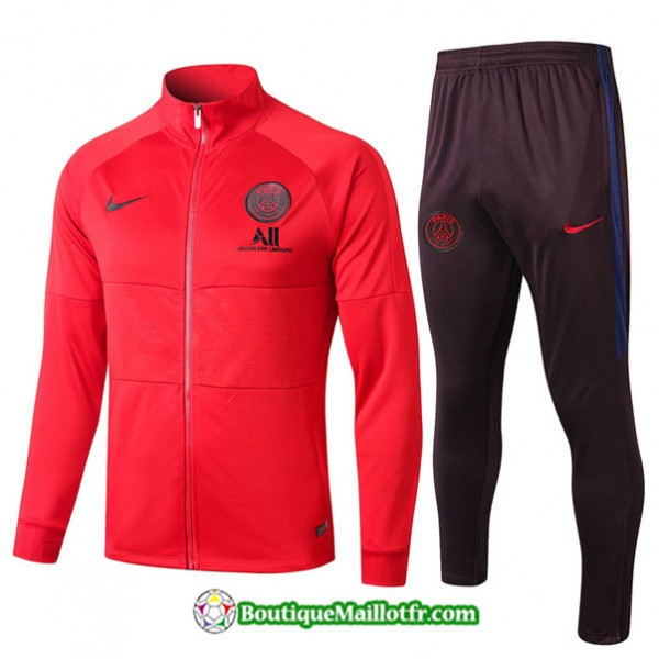 Veste Survetement Psg 2019 2020 Ensemble Rouge/noi...