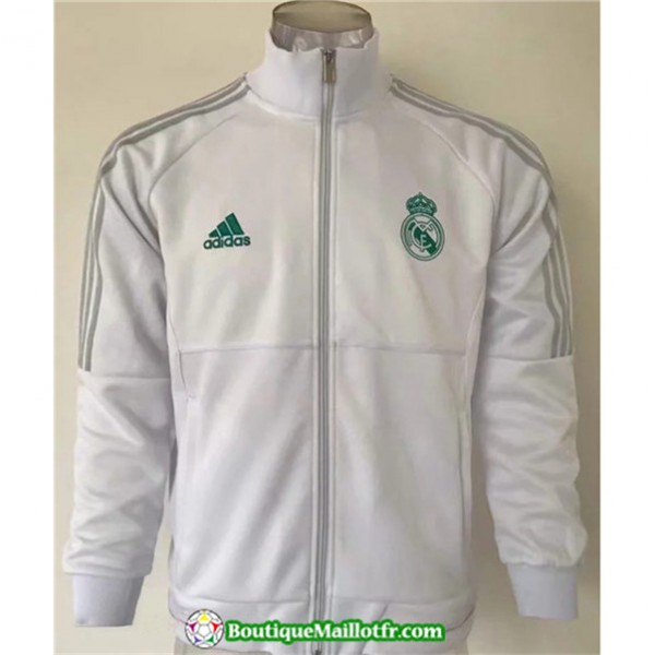 Veste De Foot Real Madrid 2019 2020 Blanc Col Haut