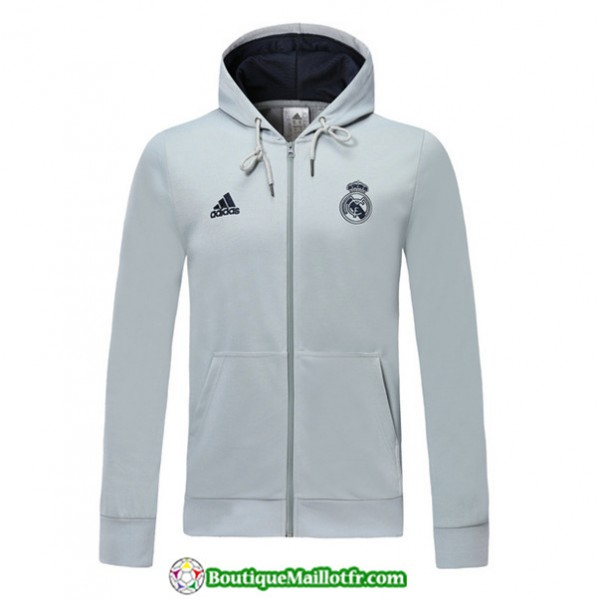 Veste De Foot Real Madrid 2019 2020 Sweat à Capuc...