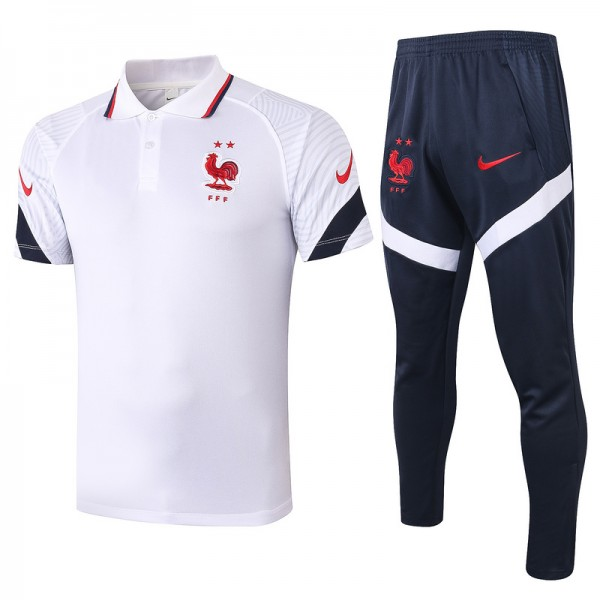 Maillot Entraînement France 2020 2021 Polo Blanc