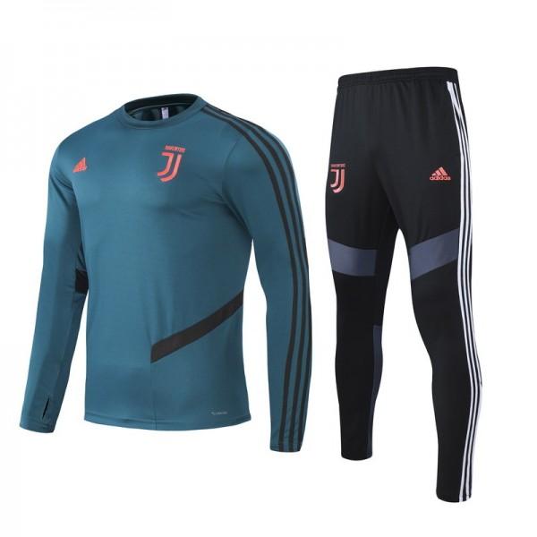 Survetement Juventus 2020 2021 Vert Foncé Col Ron...
