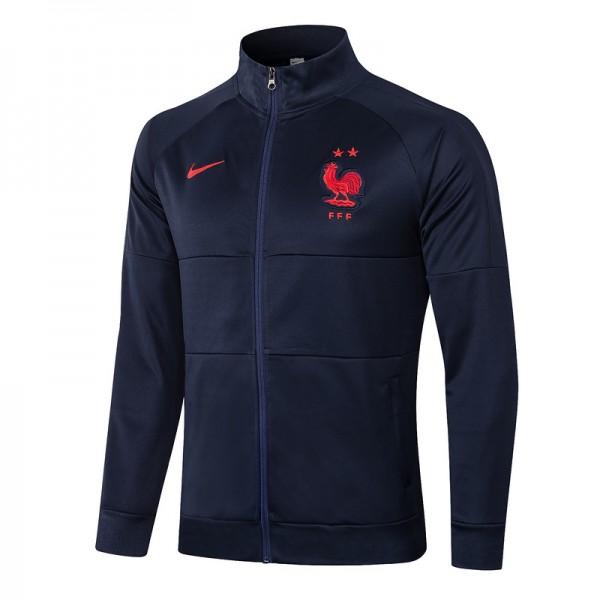 Veste De Foot France 2020 2021 Bleu Marine Col Hau...