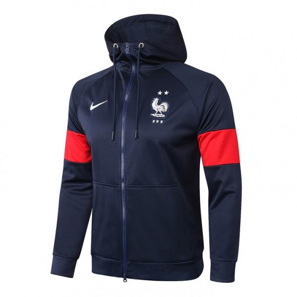 Veste De Foot France 2020 2021 A Capuche Bleu Mari...