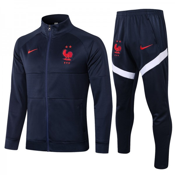 Veste Survetement France 2020 2021 Bleu Marine Col...