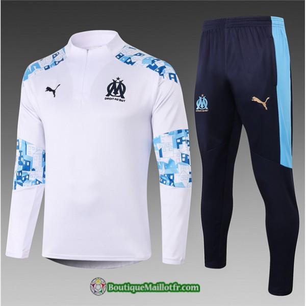 Survetement Marseille Enfant 2020 2021 Blanc