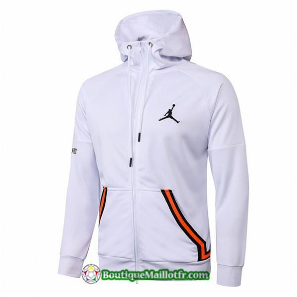 Veste Jordan 2020 2021 à Capuche Blanc