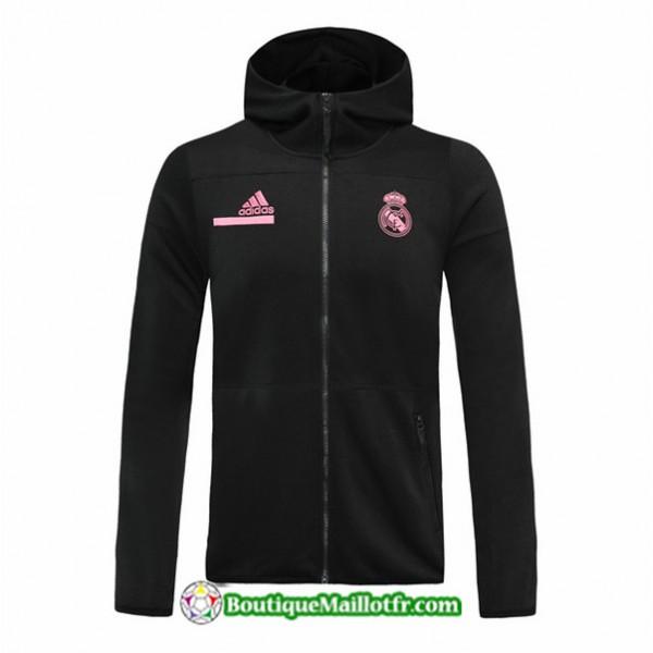 Veste Real Madrid 2020 2021 à Capuche Noir