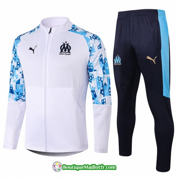 Veste Survetement Marseille 2020 2021 Blanc