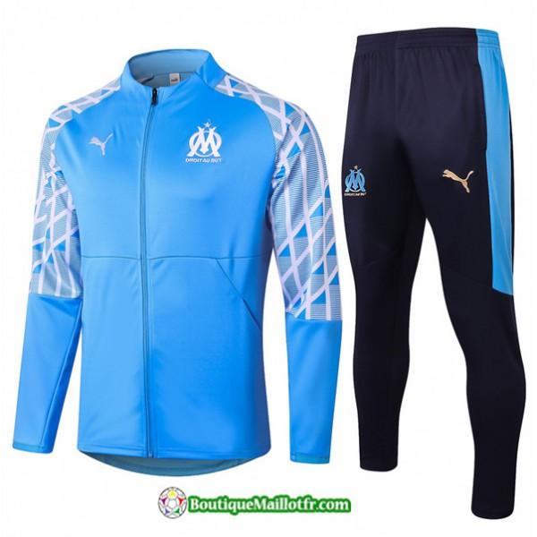 Veste Survetement Marseille 2020 2021 Bleu Clair