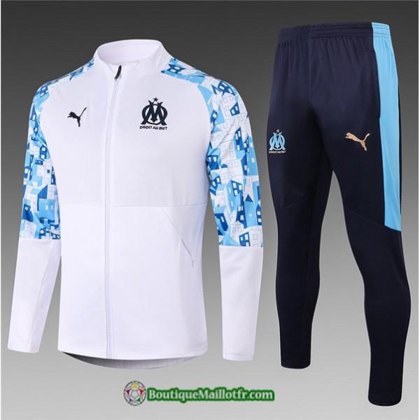 Veste Survetement Marseille Enfant 2020 2021 Blanc