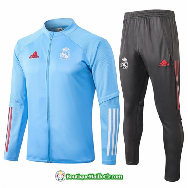 Veste Survetement Real Madrid 2020 2021 Bleu Clair