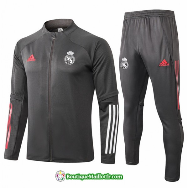 Veste Survetement Real Madrid 2020 2021 Gris Fonc�...
