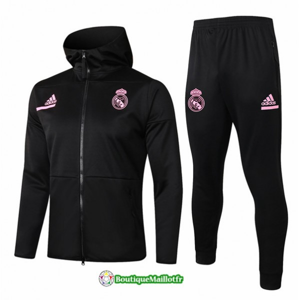 Veste Survetement Real Madrid 2020 à Capuche Noir