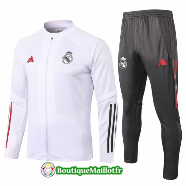 Veste Survetement Real Madrid Enfant 2020 Blanc