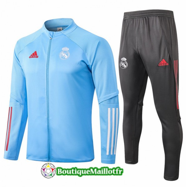 Veste Survetement Real Madrid Enfant 2020 Bleu Cla...