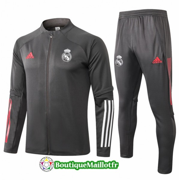Veste Survetement Real Madrid Enfant 2020 Gris Fon...