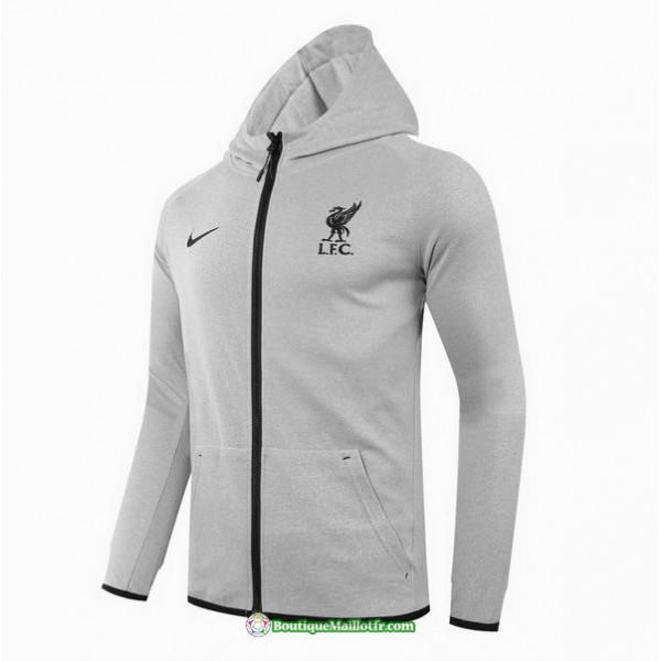 Veste Liverpool 2020 2021 à Capuche Gris