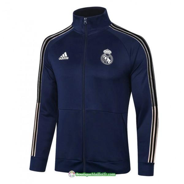 Veste Real Madrid 2020 2021 Bleu Marine Col Haut