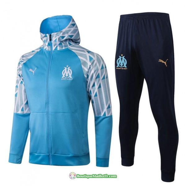 Veste Survetement Marseille 2021 2022 A Capuche Bl...