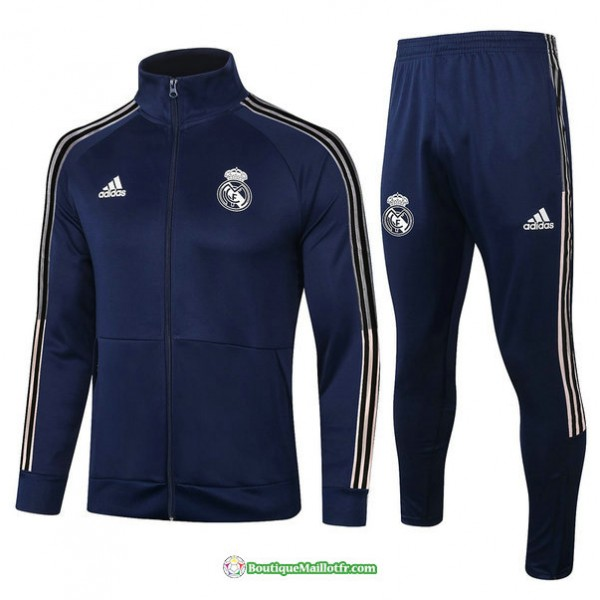 Veste Survetement Real Madrid 2020 2021 Bleu Marin...