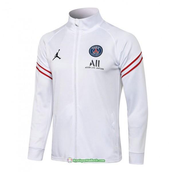Veste Psg Jordan 2021 2022 Blanc Col Haut