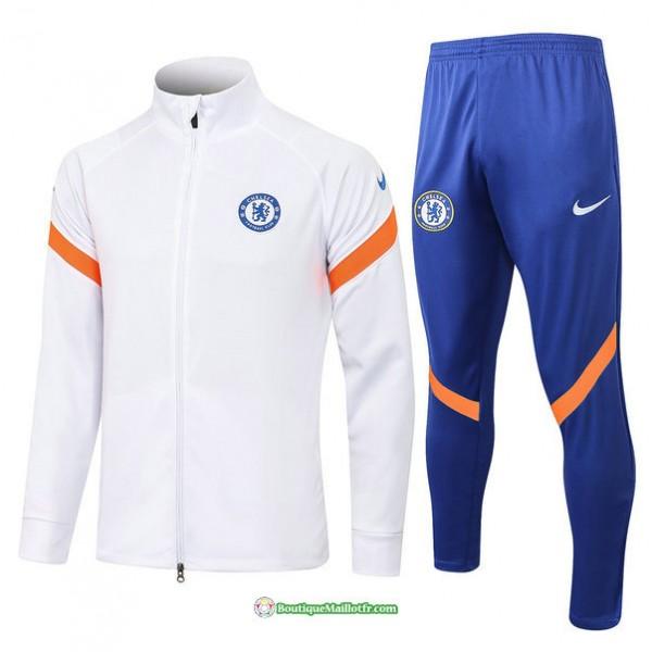 Veste Survetement Chelsea 2021 2022 Blanc Col Haut