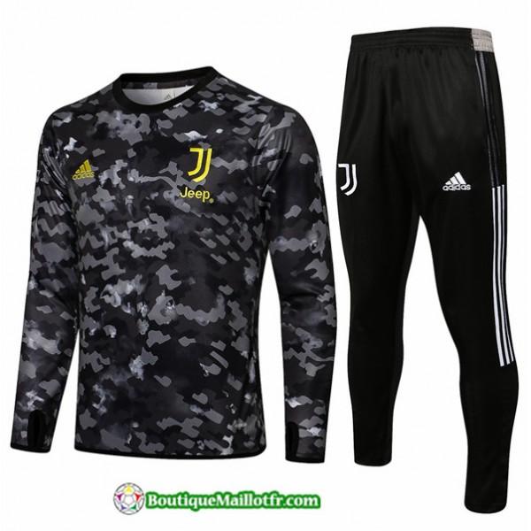 Survetement Juventus 2021 2022 Gris Foncé Col Ron...