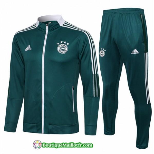 Veste Survetement Bayern Munich 2021 2022 Vert Noi...